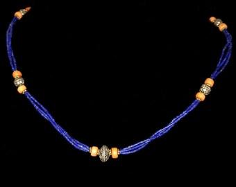Lapislazuli and Coral Silver Necklace