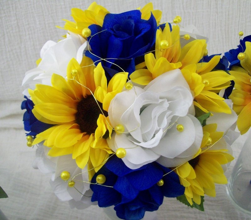 Royal Blue And Yellow Wedding Flowers Bridal Bouquet