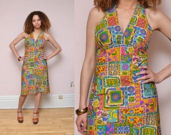 70s Halter Dress Patchwork Floral Print Hippie Dress Boho Empire Waist Sleeveless Sun Dress Midi Dress
