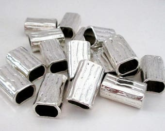 Bright Silver Industrial Tubular Spacers - Rectangle Rounded Sides - Long Drilled Metal Beads - Large Hole - 10 Pcs - Diy Bracelet Supplies