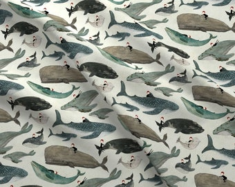 Whale Rider Fabric - The Whale Rider {Small} By Katherine Quinn - Whale Rider Children Watercolor Cotton Fabric By The Yard With Spoonflower