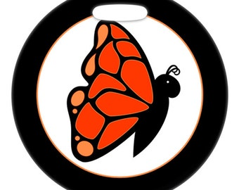 Luggage Tag - Cute Monarch Butterfly - 2.5 inch or 4 Inch Round Plastic Bag Tag