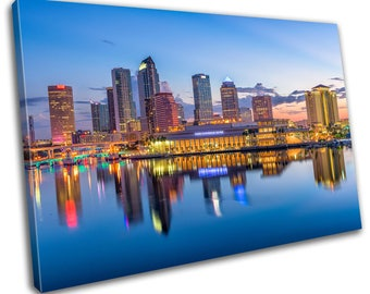 Florida Skyline Cityscape Canvas Print Home Decor- Abstract Wall Art - Modern Prints - Ready To Hang