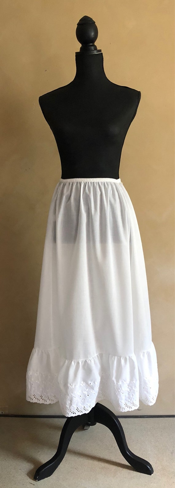 White Cotton Skirt Vintage 70's Petticoat