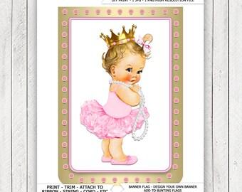 Ballerina Princess Pearl Baby Shower Banner Bunting Flags Blonde Princess Ballerina Pearl Baby Shower Banner