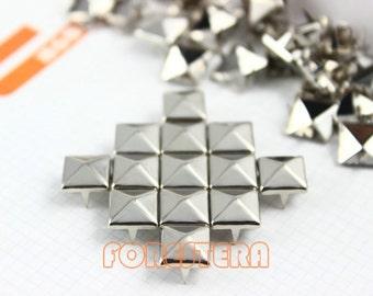9mm Silver Pyramid Stud Punk Rock Leathercraft Stud (SP09)