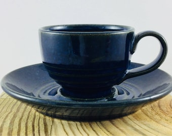 Hand-thrown Espresso Cupand saucer from our 'Deep Waters' range.