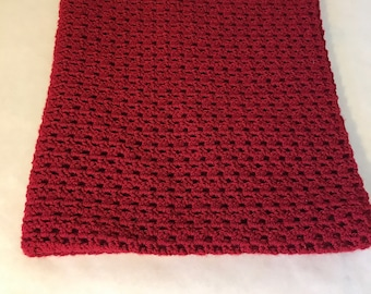 Lap Blanket, couch throw, wheelchair lap cover, crocheted, sofa blanket, cranberry color