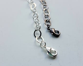 necklace extender - choose your length - silver plated chain, gunmetal chain, black chain - length options