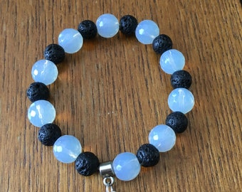 Stretchy bracelet with faceted Opalite and lava beads