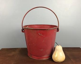 Rare Vintage Galvanized Red Reeves Bucket