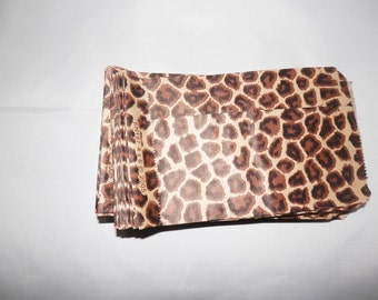 100 Pack Leopard Print Merchandise Bags, Paper Bags, Gift Bags 4x6 Animal Print Party Favor Bags