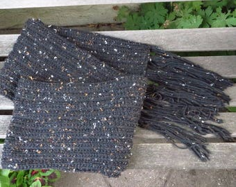 Black Super Scarf, Black Tweed Knitted Scarf Extra Long, 9 x 104 inches, Mens Scarf, Womens Scarf, Ready to Ship