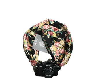 Reversible Black and Floral Print Camera Strap with Lens Pocket -  The Original Camera Scarf Strap With Pocket