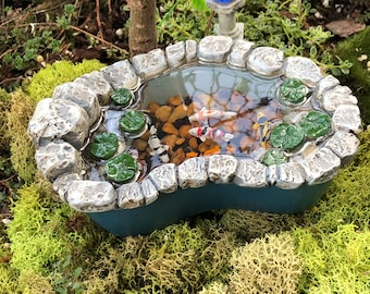 Koi Pond, Fiddlehead Fairy Garden Stone Look Pond With Water and Fish, Miniature Garden, Home and Garden Decor, Gift, Topper