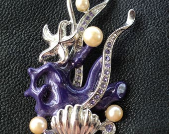 Brooch «Underwater world», jewelry, jewelry, for women, gift, crystals, accessory.