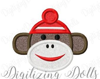 Sock Monkey Applique Machine Embroidery Design 2.5x2 4x4 5x7 6x10 INSTANT DOWNLOAD