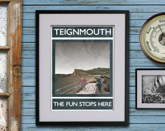 Teignmouth: The Fun Stops Here - A3 Rubbish Seaside print (signed and dated)