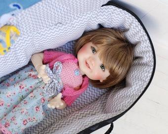 Travel Bag Sleeping Doll Case Giggi Patti by My Meadow 1/6 Bjd Zigzag Black Gray White