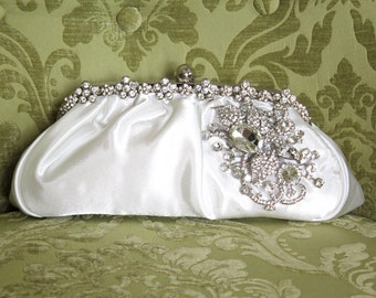 Ivory Clutch, Satin Bridal Clutch, WeddingClutch Purse, Vintage Style Bridal Clutch, Rhinestone Clutch,