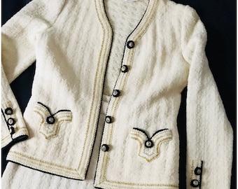 Vintage 70's Adolfo wool knit dress suit skirt ivory white / black / Lurex gold sz M/L