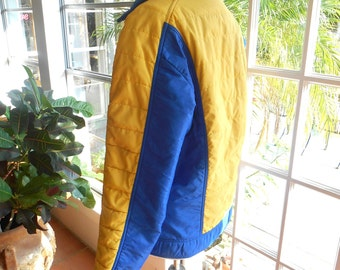 Vintage Sportcaster jacket ski color block hipster puffy jacket outerwear 1970's: small, medium