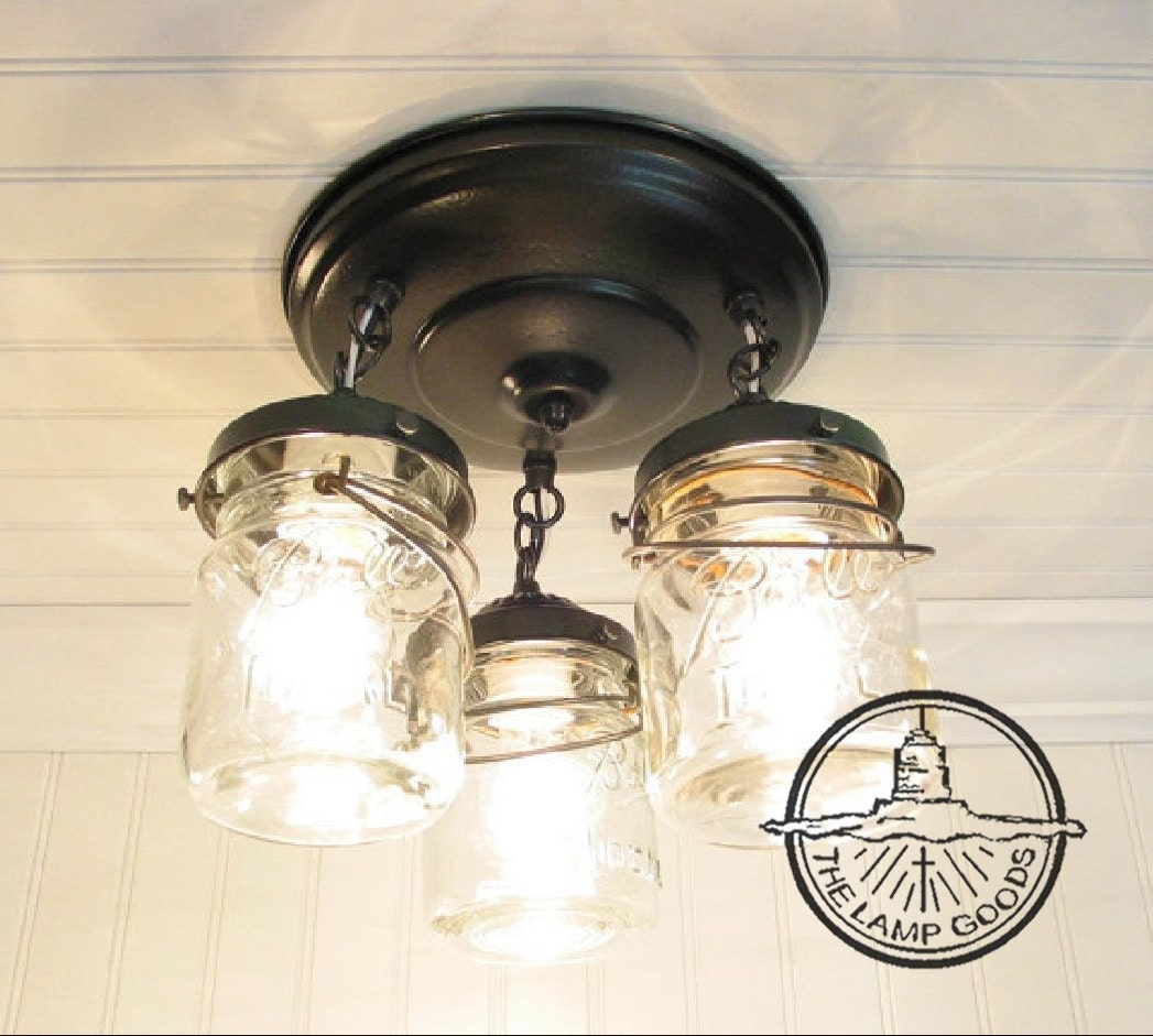 Mason jar ceiling light fixture vintage pint trio flush zoom arubaitofo Gallery