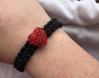 Red Gem Heart Chamballa Bracelet