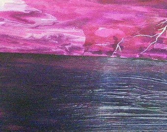 Lightning at Sea featuring a magenta sky and reflections of lightning across the sea by Lynda Colley Originals