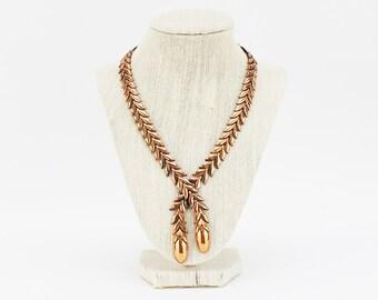 Renoir Modernist Copper Necklace - Vintage 1950s Mid Century Necklace