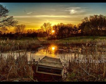 Sunset at Duck Pond, (derelict dock)