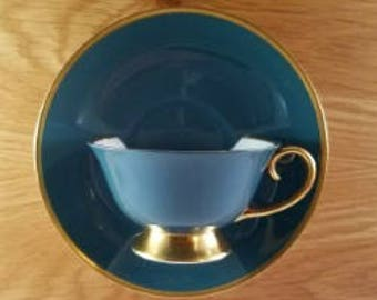 Teacup Wallpocket - Teal & Gold