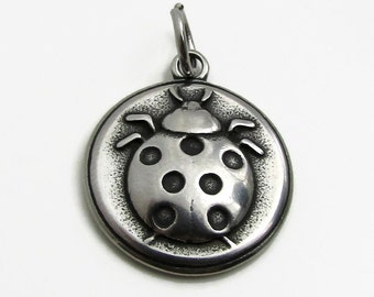 Lady Bug Pendant, Jewelry Charm, Stainless Steel Charm, Jewelry Pendant, SST Findings 19mm, Set of 3, Stainless Steel Pendant, Bug Charm