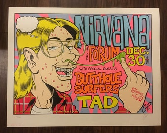 Nirvana/Butthole Surfers/Tad Coop 23.5 x 17.5 Signed, 174/400