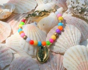 Beach shell beads and metal bracelet