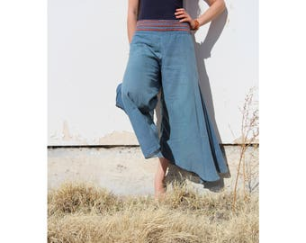 Cotton Shanti Flow Pants in TEAL // Partially Lined, Moisture Wicking, Yoga, Biking, Play! Flexible Waistband.
