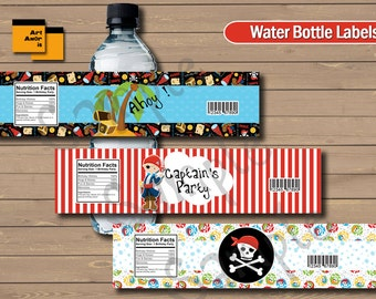 Pirate water bottle label, Pirate water label, Pirate bottle label, Pirate label printable, Printable, Party decoration, Pirates party TFP-3