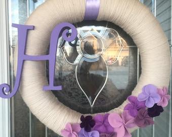 Purple Initial Wreath