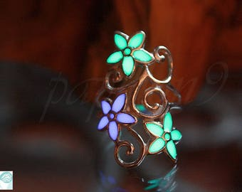 FLOWERS ring / Glow in the Dark / Glow flowers Ring / Sterling Silver Ring / Silver ring 03 /