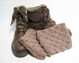 Brown Boot Cuffs, Boot Toppers, Taupe Boot Cuffs, Brown Boot Topper, Crochet Boot Cuffs, Taupe Crochet, Gift for Her, Womens Boot Cuffs