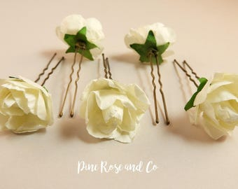 White Rose Hair Pins//Flowers//Boho//Wedding//Hair accessories//
