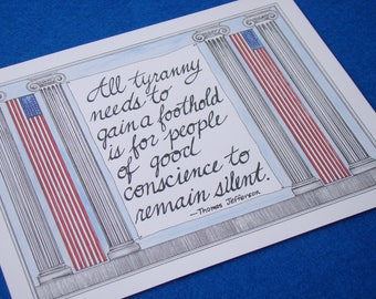 Thomas Jefferson Quote/Patriotic Art /8 1/2 x 11 Art Print