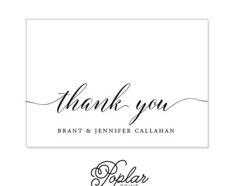 Thank You Foldover Elegant Callahan Personalized Couples Stationery- Custom Name Foldover Formal card set Wedding Callahan