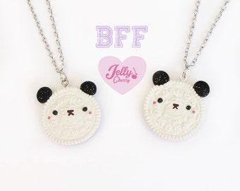 kawaii Panda DUO oreo necklace /BFF necklace