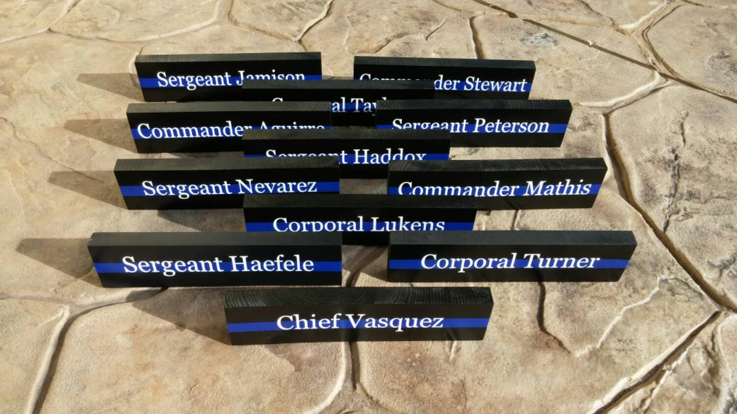 Fabulous Thin Blue Line Desk Plaque Police Name Plate. Police Officer XJ59