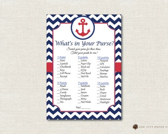 Nautical Whats in Your Purse Shower Game - Whats In Your Purse Baby Shower Game, Nautical Baby Shower Games, Nautical - Printable, DIY