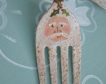 Santa Fork Ornament/ Handmade Santa/ Vintage Santa Ornament/ Silverware