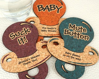 Baby Shower Favor Coasters, Personalized Baby Pacifier Shaped Cork Coasters, Baby Shower Favors, Personalized Cork Coasters - Set of 12
