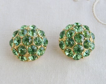 2 Vintage Green Rhinestone Jeweled Gold Tone Metal Buttons