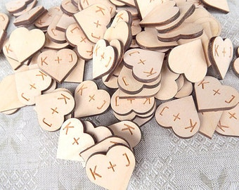 Wood Hearts, With Personalized Initials, Set Of 100 Custom Initials, Rustic Wooden Hearts, Reception Table Decoration,Gift,Heart wood, Craft